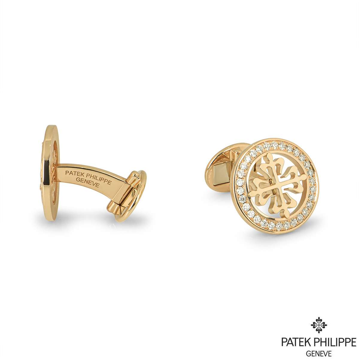 Patek Philippe Yellow Gold Diamond Calatrava Cross Cufflinks